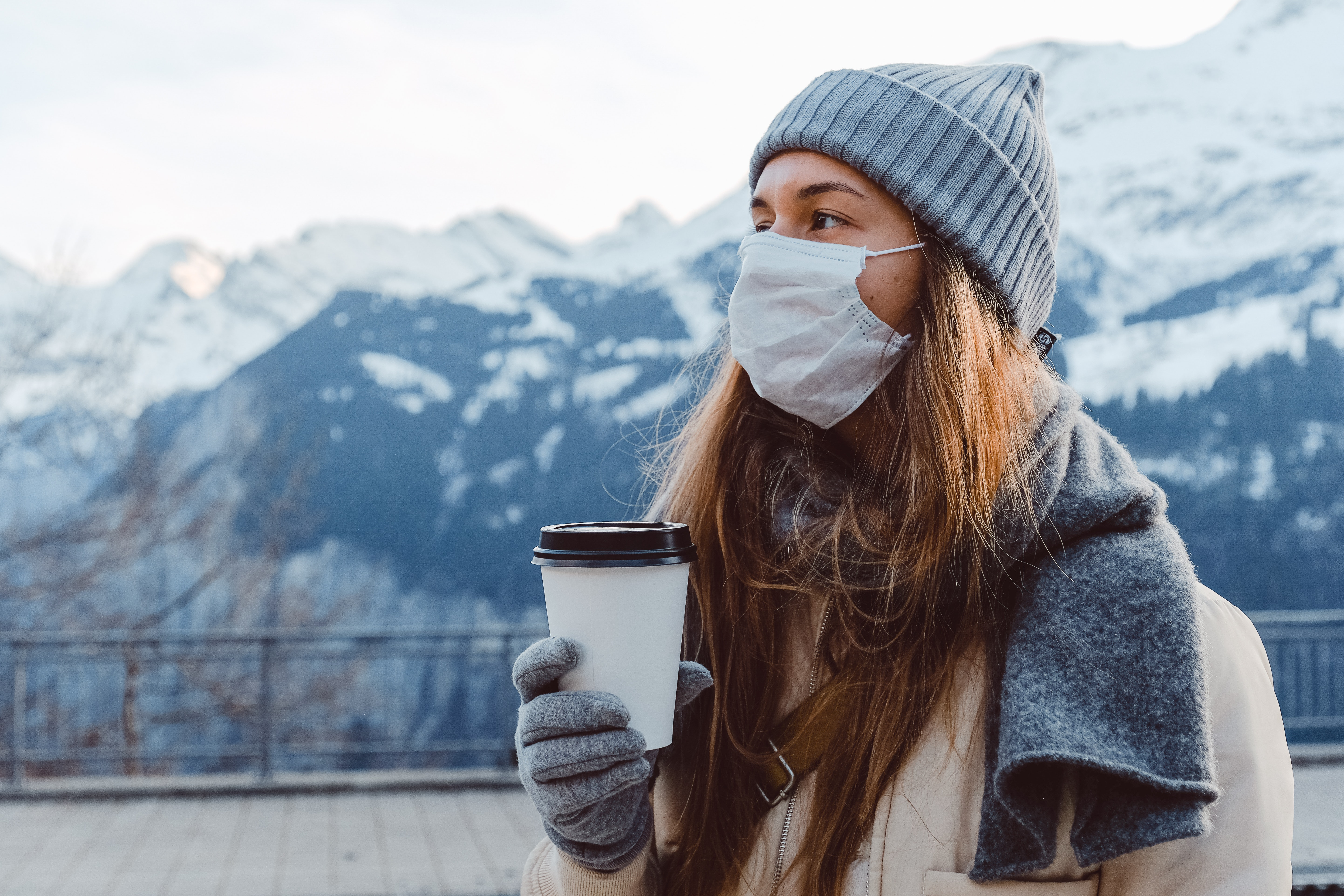 Woman with safety face mask